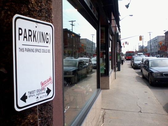 """The Park_ingOttawa project (2012) asked Centretowners to submit ideas for what else """"this parking space could be"""". Project and photo by Sarah Gelbard"""